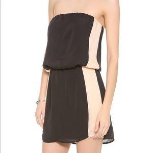 Michelle mason strapless contrast dress